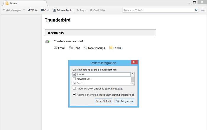 Mozilla Thunderbird configuration screenshot