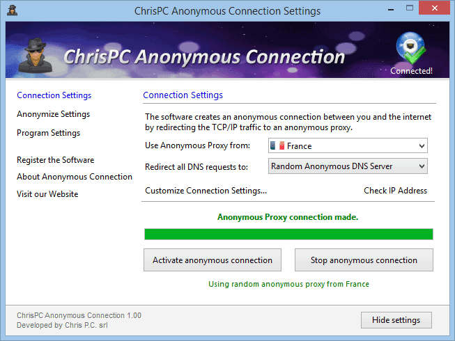 ChrisPC-Anonymous-Connection-screenshot