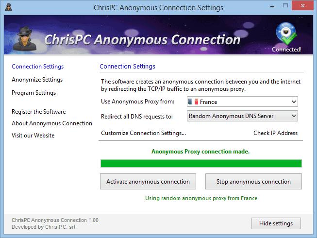 ChrisPC-Anonymous-Connection-screenshot